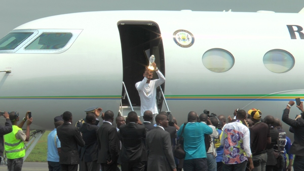 Arrivée Triomphale à Libreville du Bollon d'or Africain Pierre Emerick Aubameyang