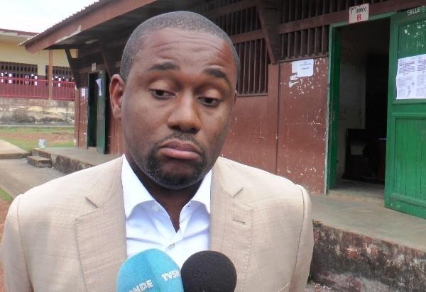 Ike Ngouoni le 6 octobre 2018 à l'école publique d'Ozangué