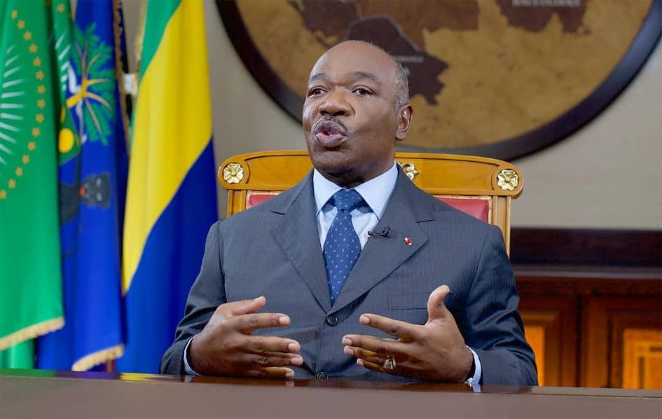 Ali Bongo Ondimba durant sa déclaration / Gabonactu.com